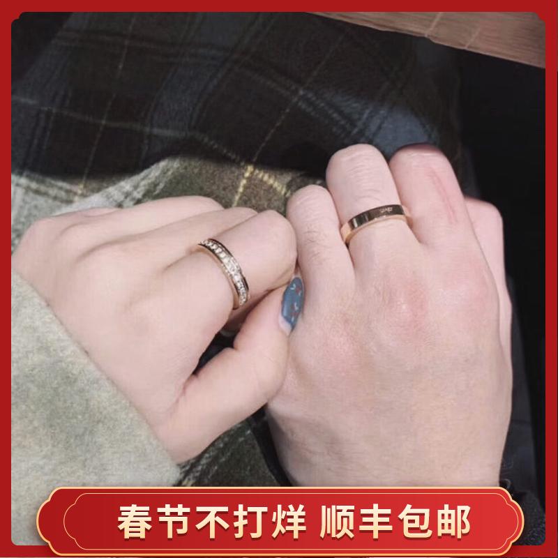 小ck情侣戒指一对纯银男女学生日韩简约满天星CK对戒纪念礼物尾戒