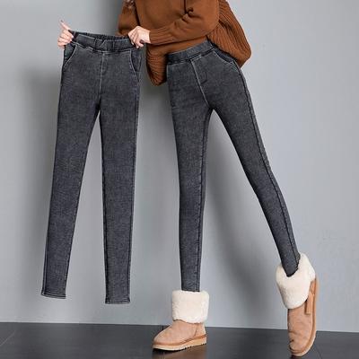打底裤女外穿2021新款仿牛仔魔术小脚春秋冬黑色加绒保暖厚小黑裤
