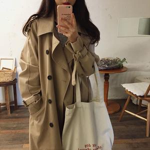 2020春季新款韩版时尚风衣女中长款显瘦学生流行外套宽松廓形女装