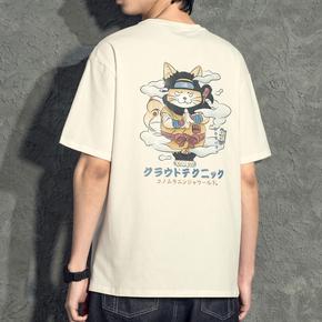 日系动漫卡通男t短袖棉质宽松内搭上衣夏季潮流白丅吸汗男士t恤衫