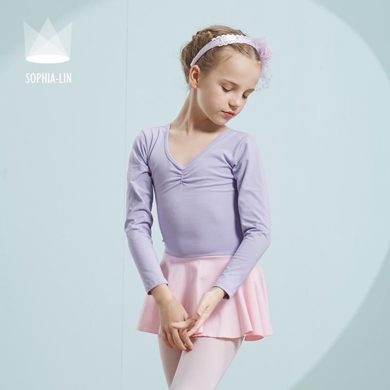 尚品琳春季新撞色儿童舞蹈服女童练功服幼儿长袖考级服装芭蕾舞裙