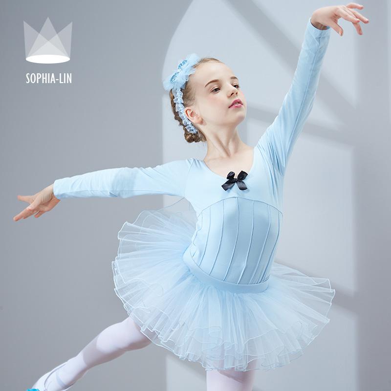 尚品琳 春季儿童舞蹈服装长袖女童练功服少儿芭蕾裙舞考级演出服