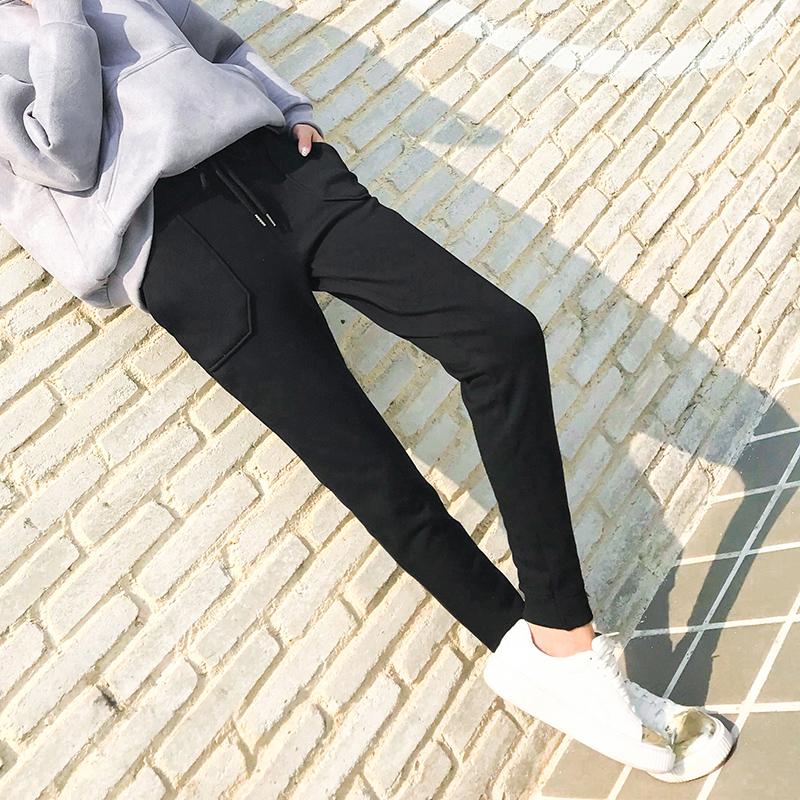 秋冬新款运动裤加绒加厚女士卫裤针织裤哈伦裤韩版显瘦宽松休闲裤