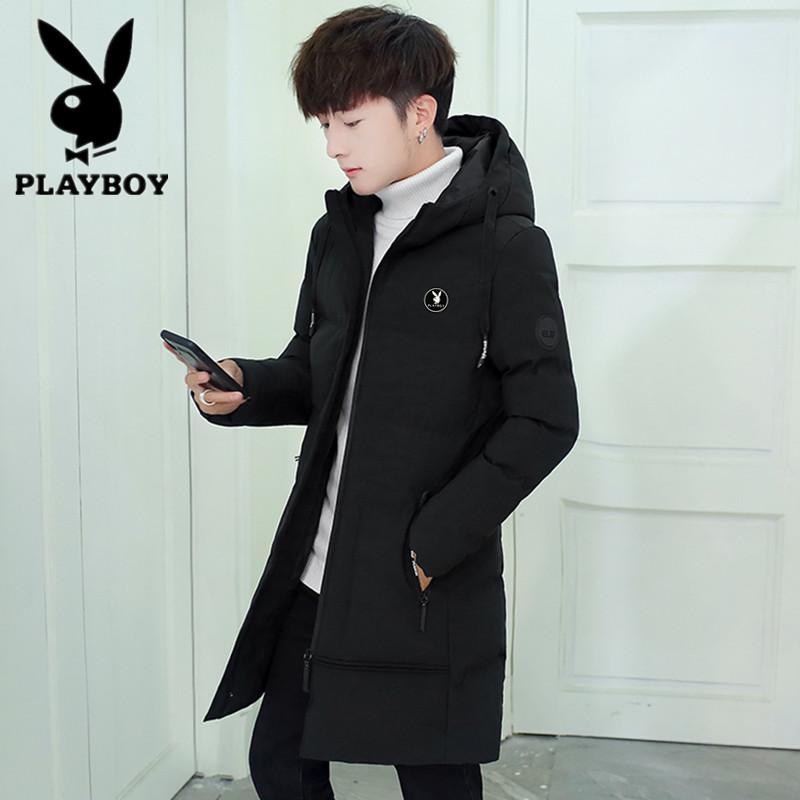Playboy cotton padded jacket mens mid long winter cotton padded jacket Korean slim fit jacket youth large hooded down cotton padded jacket