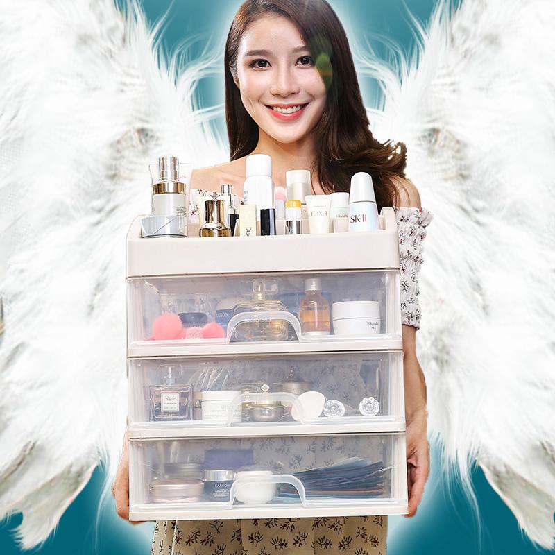 网红化妆品收纳盒女防尘置物架桌面抽屉式家用梳妆台护肤品整理箱