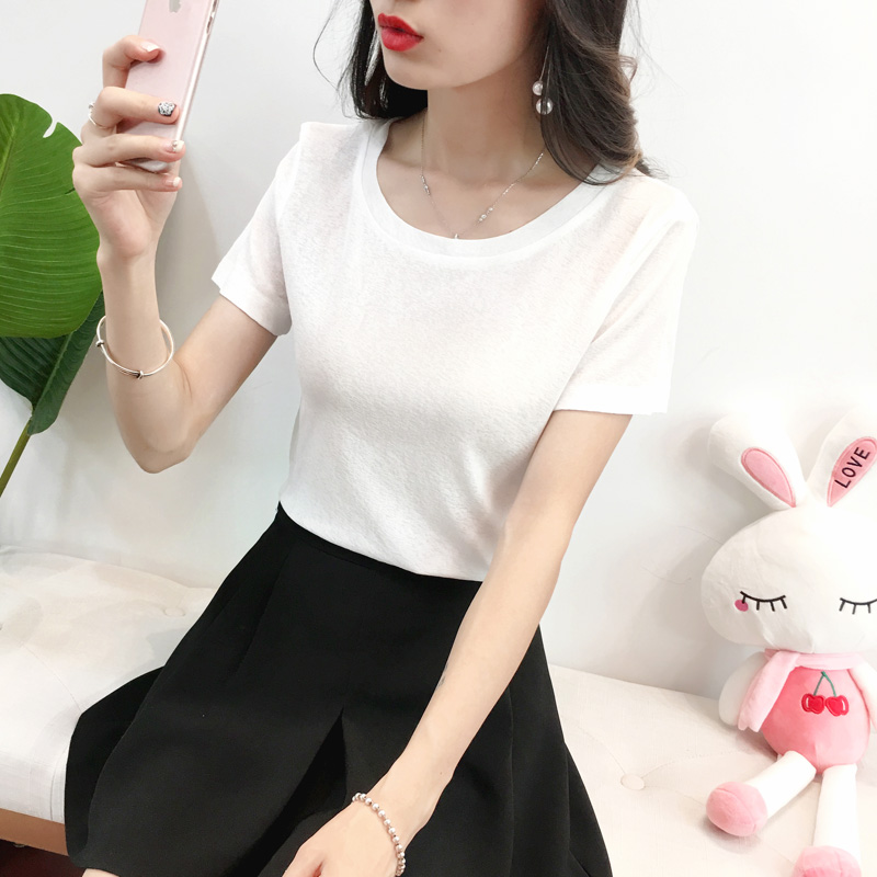 Summer bright silk ice silk solid color round neck thin short sleeve skirt with white T-shirt backing top T-shirt womens T-shirt