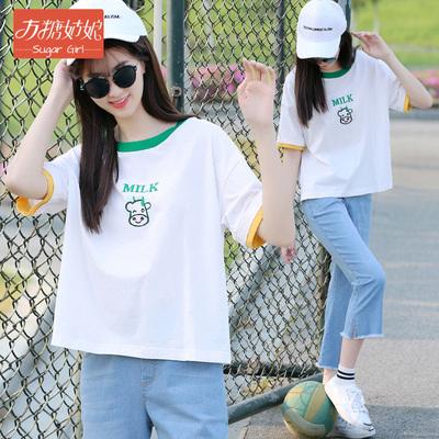 少女韩版休闲时尚套装学院风2021夏季新款初中学生夏装T恤牛仔裤