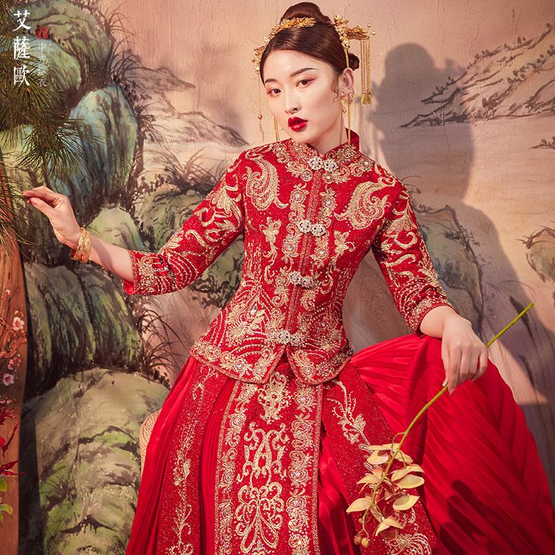 抖音同款秀禾服新娘2019新款结婚敬酒服中式婚纱秀禾古装龙凤褂裙