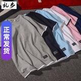 潮牌夏季T恤男短袖原创假两件短袖T恤青少年日系拼色纯棉T恤男