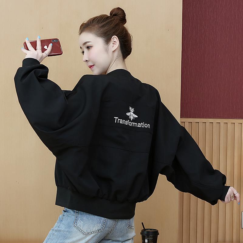 早春蝙蝠袖开衫短外套女春秋2020新款韩版宽松vintage棒球服夹克图片