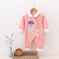 婴儿秋装女0-1岁公主服新生儿连体衣纯棉外出服哈衣女宝宝秋装
