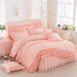 韩版公主蕾丝床裙式四件套床罩四件套花边纯色磨毛床套多件套