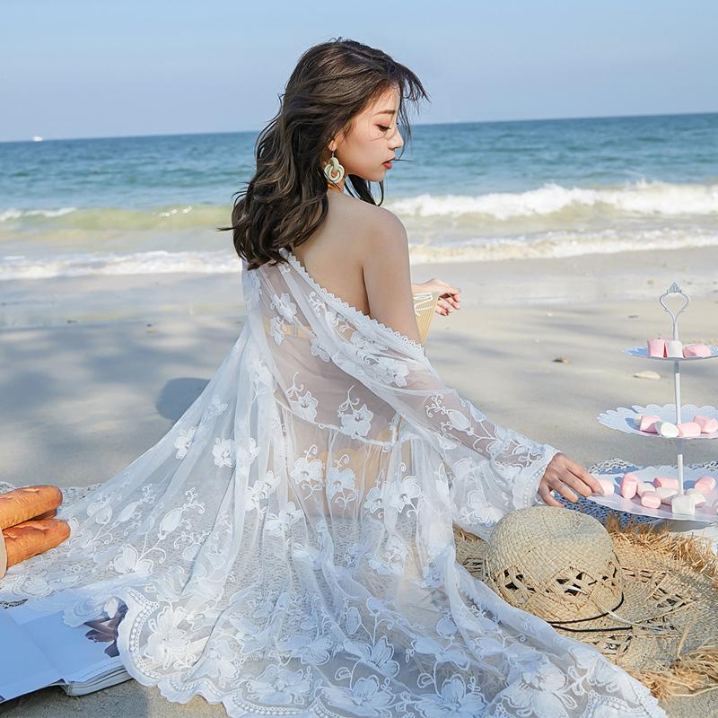 防晒衫女夏2019新款喇叭袖蕾丝开衫薄外套披肩海边沙滩外搭罩衫