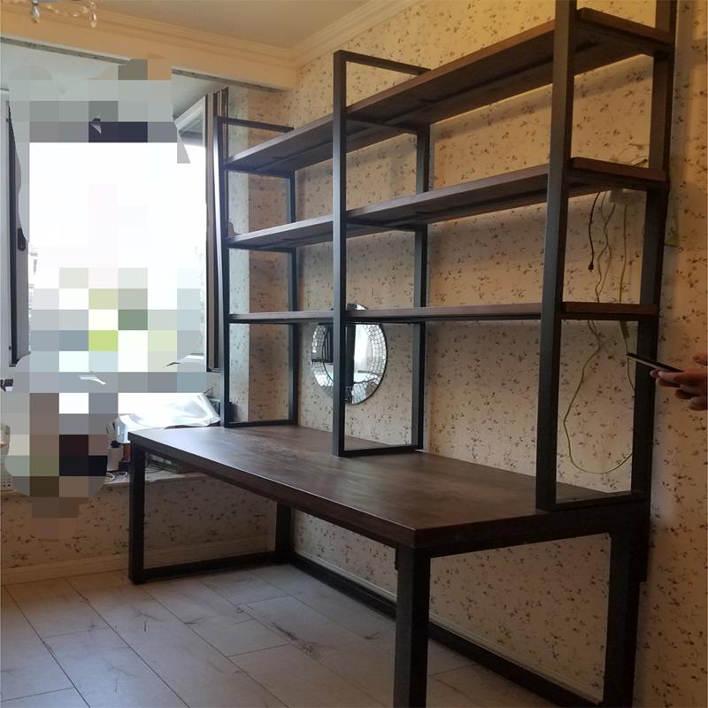 loft实木书架一体免打孔家用电脑桌