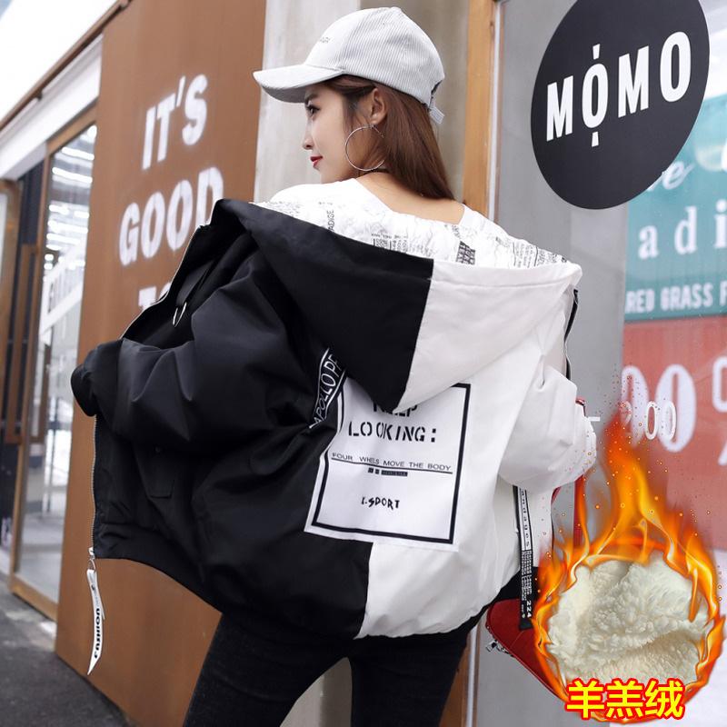 韩版原宿风BF情侣装羊羔毛拼色加厚棉服女学生宽松棒球服棉衣外套