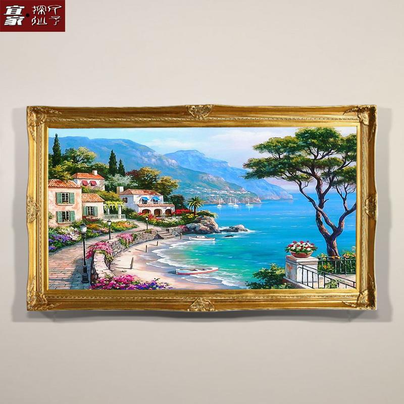 成品畫地中海風景壁畫大芬村純手繪油畫客廳沙發背景墻裝飾畫掛畫