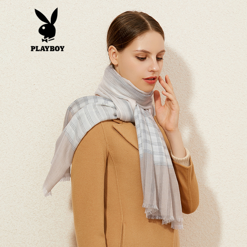 Playboy scarf womens autumn and winter thin pure wool with collar fashion Plaid stripe thermal shawl dual purpose