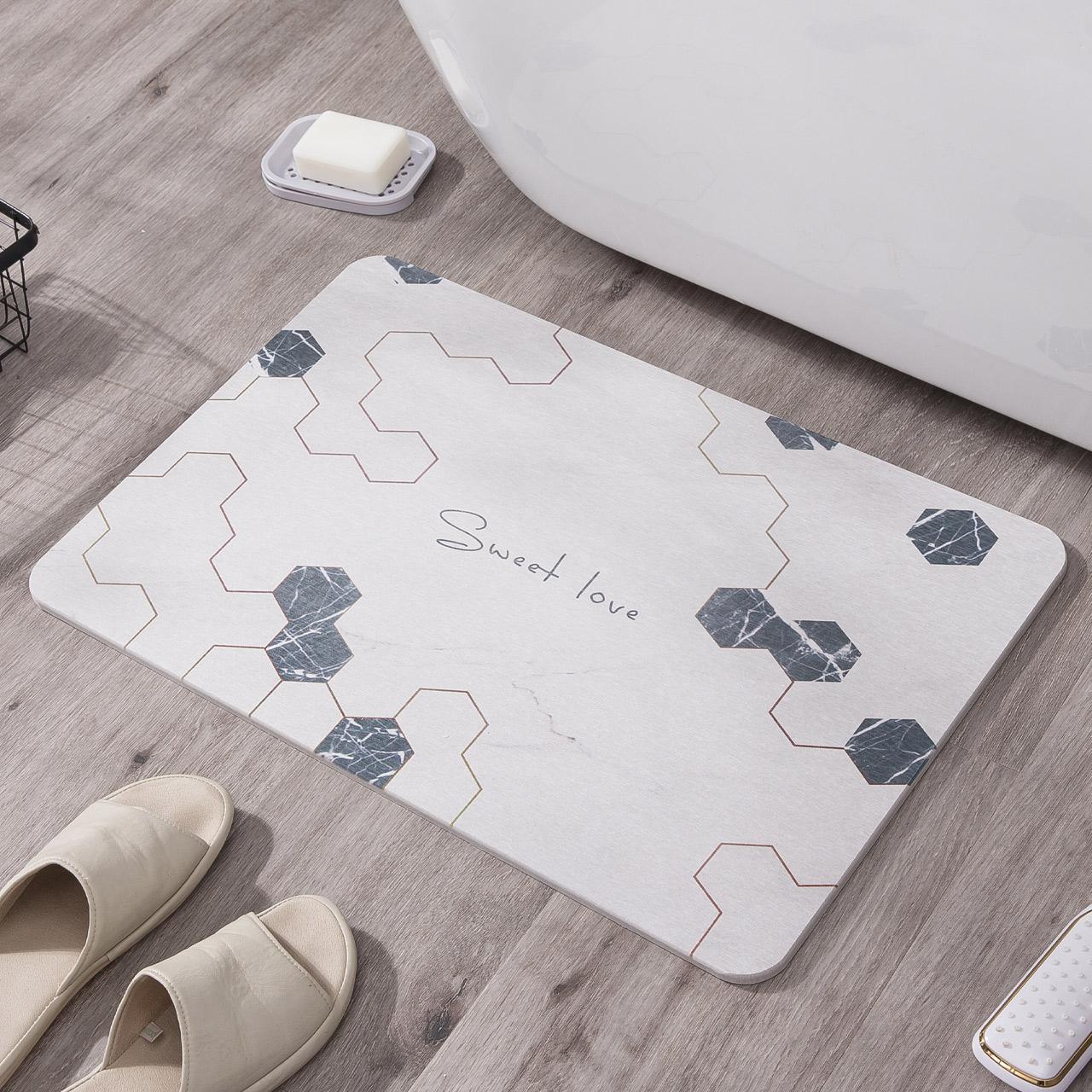 奇雅天然硅藻泥脚垫卫生间卫浴门垫硅藻土地垫吸水速干浴室防滑垫(非品牌)