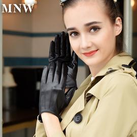 女士头层羊皮手套女薄款修手触屏加绒保暖韩版驾驶机车真皮手套女
