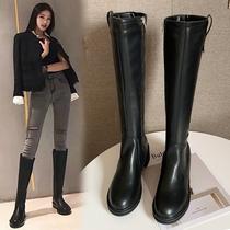 ANN騎士靴女高筒秋冬新款加絨靴子皮靴單靴粗跟長筒軍靴馬靴長靴
