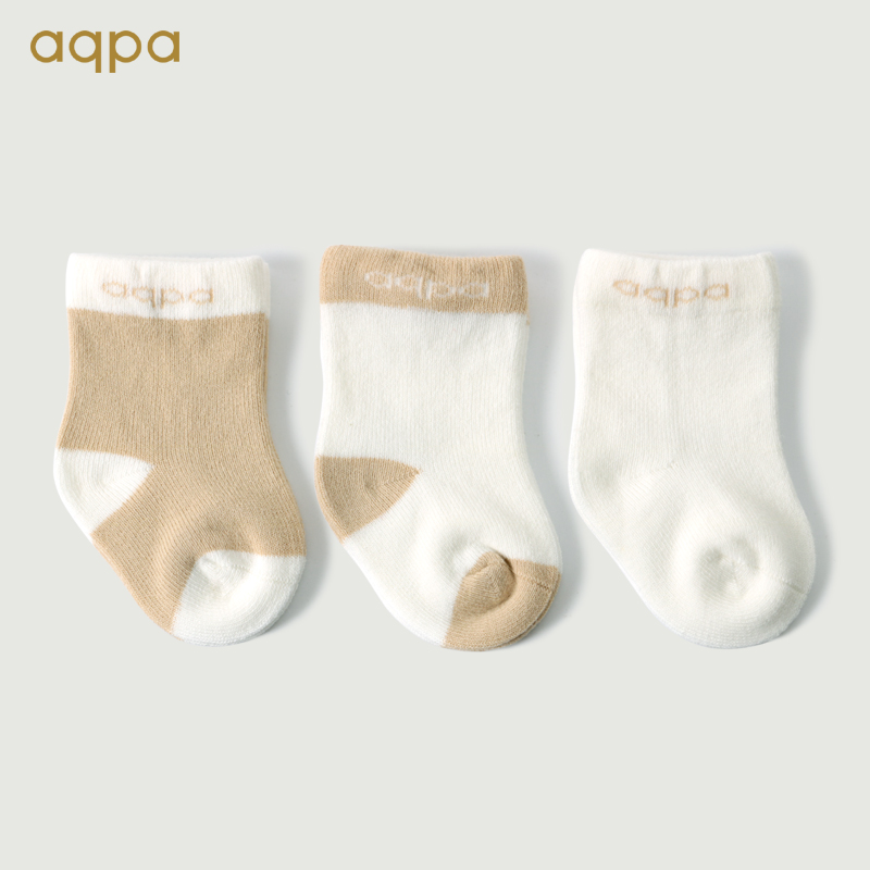 Aqpa boys and girls with loose cotton socks 3 pairs of spring and autumn newborn socks cute Chao Meng 0-1-3 years old