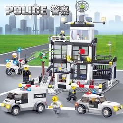 积木拼装玩具益智力9小学生7男孩礼物6-12岁10樂高城市警察局系列