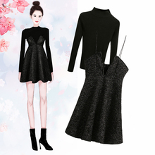 Small suspender small black skirt two piece set women's autumn and winter 2019 Vintage waist collection small fragrant back belt Dress Set