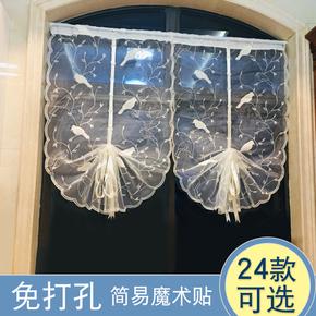 免打孔美式ins风刺绣提拉帘升降窗帘纱帘成品 双层飘窗阳台罗马帘