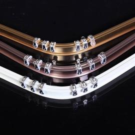 可弯曲铝合金弯轨L型U型转角飘窗窗帘配件轨道直轨路轨导轨罗马杆图片