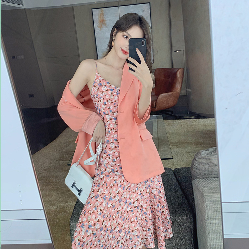 Za chiffon dress womens summer 2020 new see suspender skirt rouje suit floral skirt two piece long dress