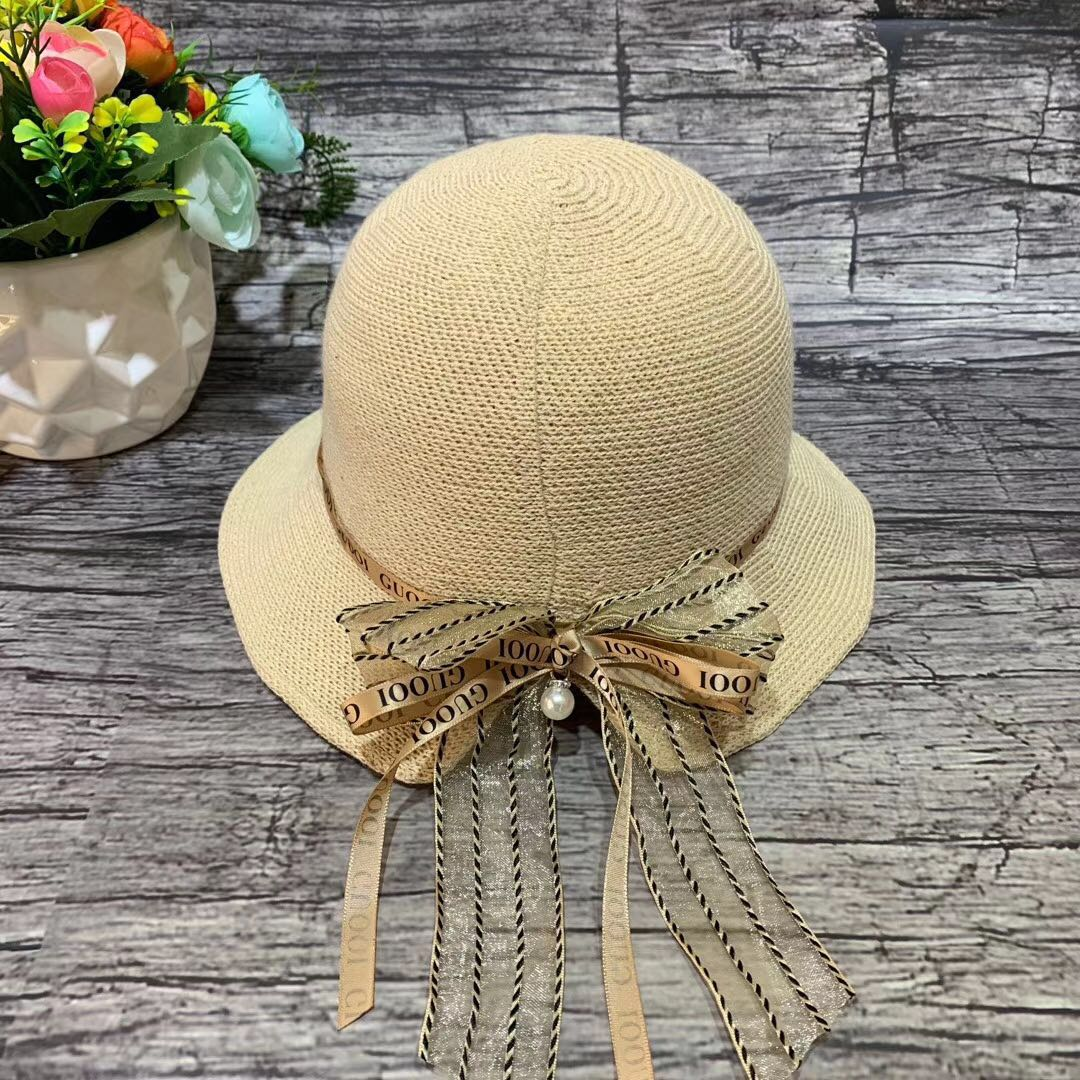 Bow knitted basin hat summer breathable fishermans hat ice linen sun hat adjustable size