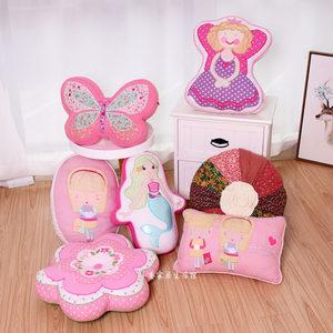 外贸新品出口全棉贴布绣抱枕绗缝布艺特色靠枕含芯卡通儿童靠垫子