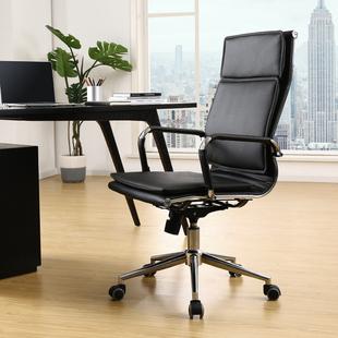 爱意森电脑椅家用弓形办公椅升降转椅老板椅皮椅会议职员靠背椅子