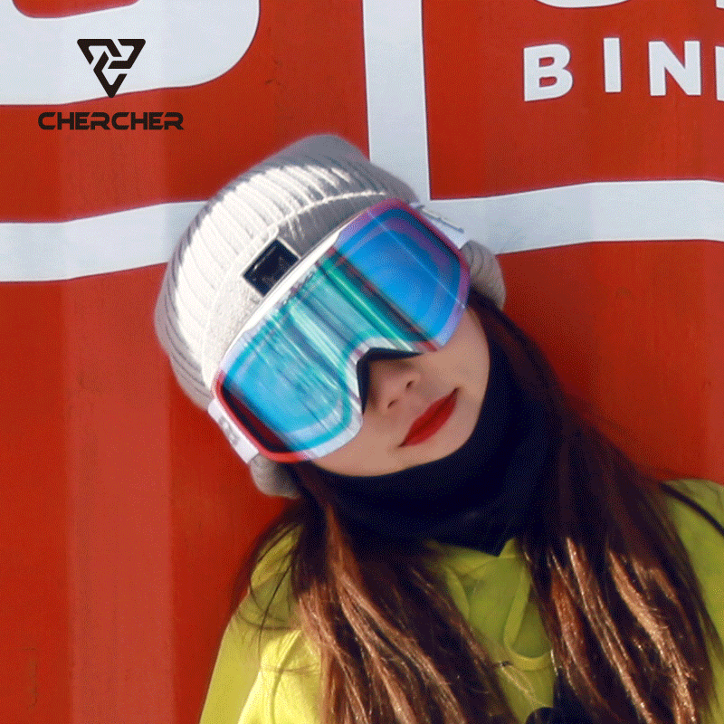 Chercher ski goggles cylindrical rimless large field of vision high definition anti fog goggles for men and women