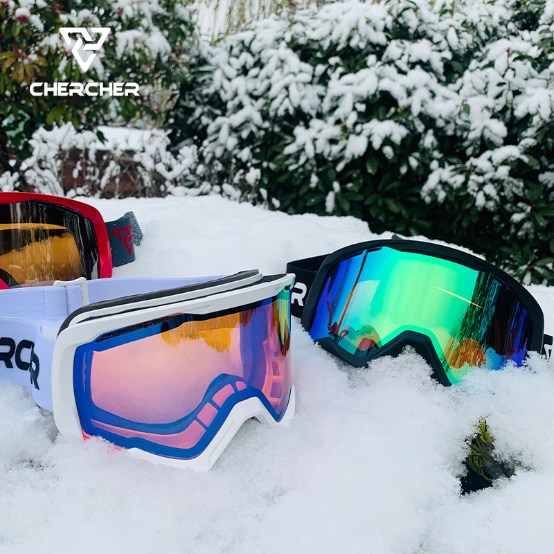 Chercher ski goggles high definition antifogging double layer lens male and female adult cylindrical goggles can card myopia CS1