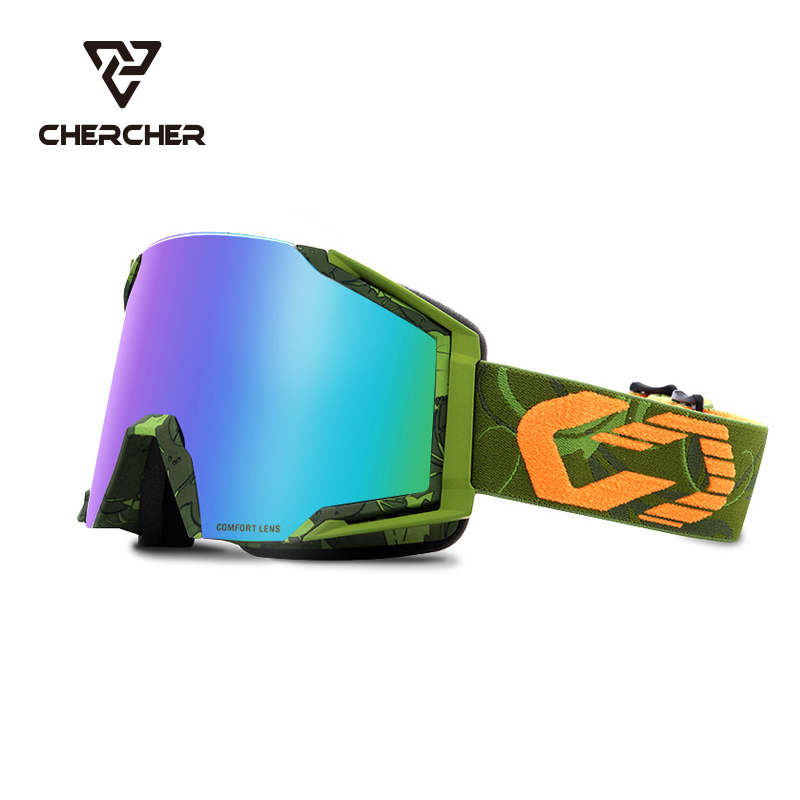 Double layer large cylinder anti fog and anti impact ski goggles for men and women