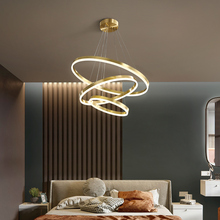 Post modern all copper light luxury living room chandelier simple LED dining room lighting creative personality round bedroom lighting