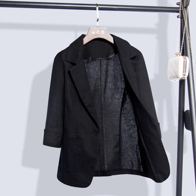 Summer black suit jacket with three-quarter sleeves casual imitation linen small suit jacket female 2021 cotton and linen thin spring and autumn