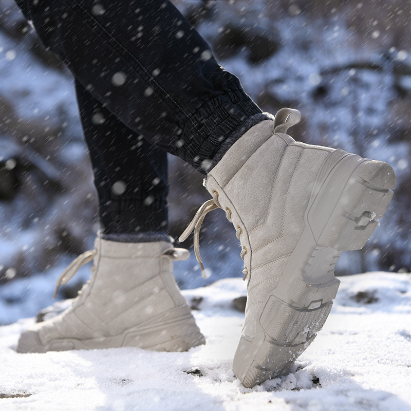 Northeast down Snow Boots Mens winter waterproof and antiskid down thickened warm high top bread shoes big cotton shoes cotton boots
