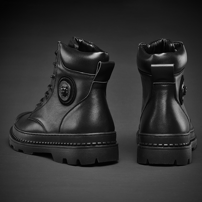 Martin boots mens high top winter plush cotton shoes British style locomotive boots black army boots leather boots middle top boots fashionable shoes