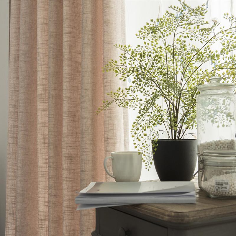 窗帘成品亚麻简约现代中式落地窗卧室遮阳棉麻纱遮光纯色窗帘布料淘宝优惠券