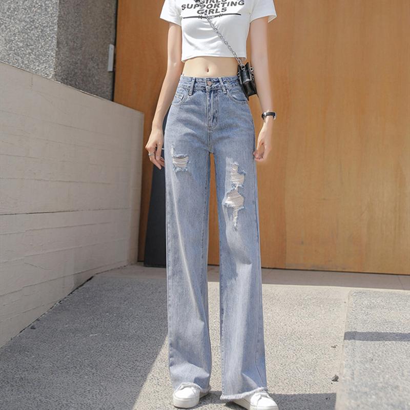 破洞牛仔裤女高腰显瘦百搭2021年夏季新款宽松直筒垂感阔腿拖地裤