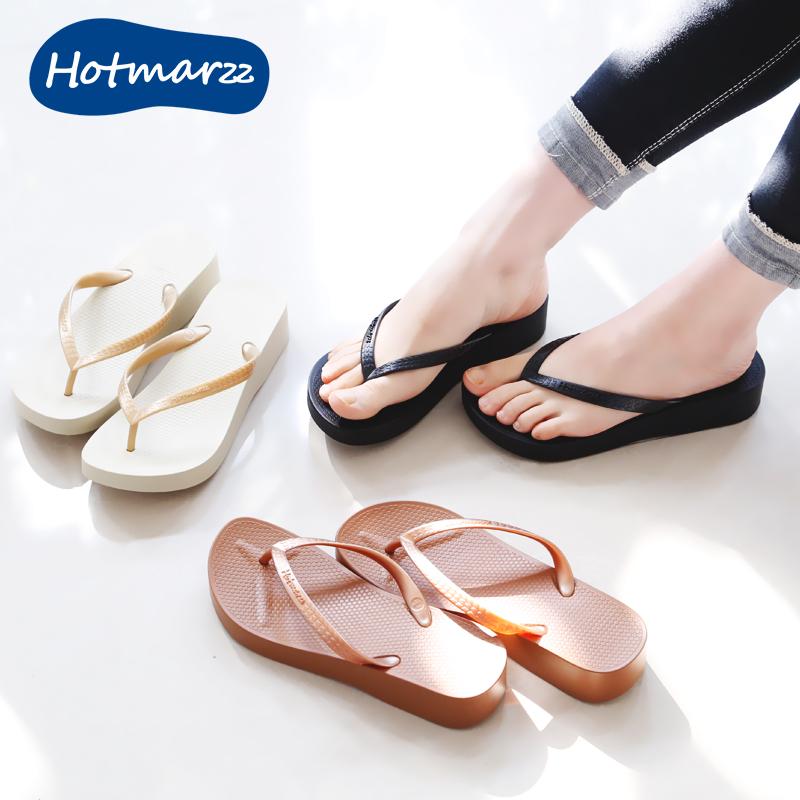 厚底人字拖女外穿沙滩鞋海边防滑坡跟增高黑白色夹趾夹脚中跟凉拖