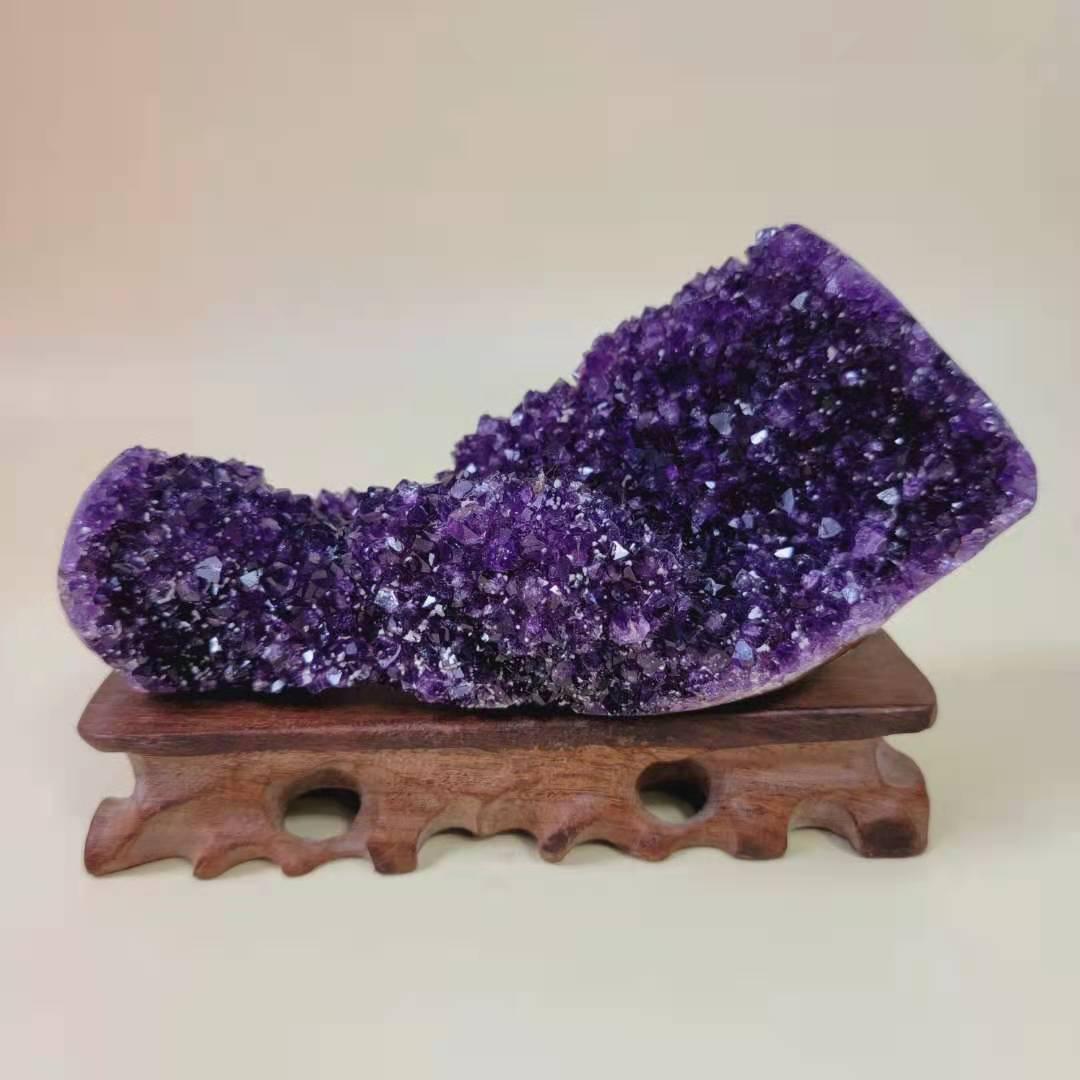 天然水晶原石乌拉圭紫晶洞摆件紫水晶洞聚宝盆好运招财风水消磁礼