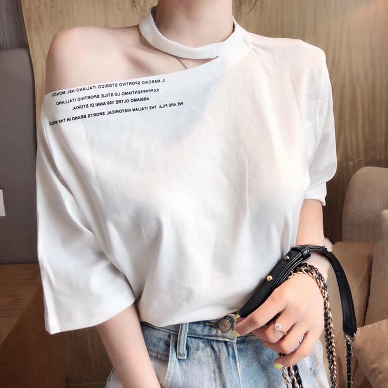 欧洲站2020夏装新款宽松斜肩露肩设计感小心机挂脖上衣短袖T恤女