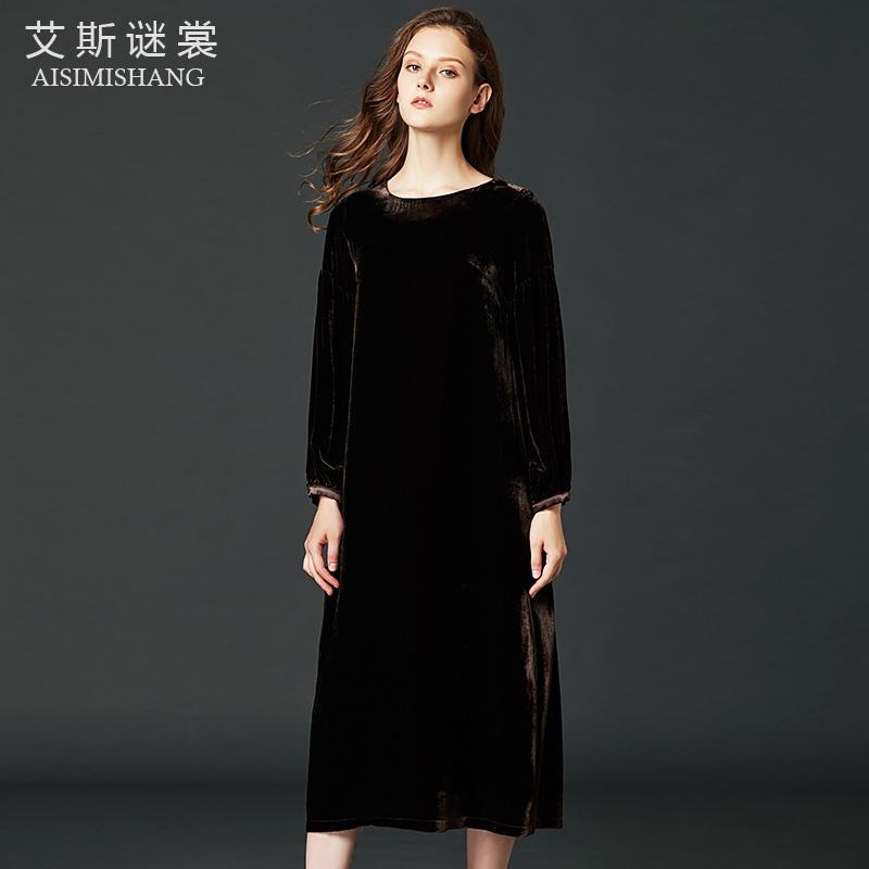 2019秋季新款真丝绒长袖金丝绒裙子券后589.00元