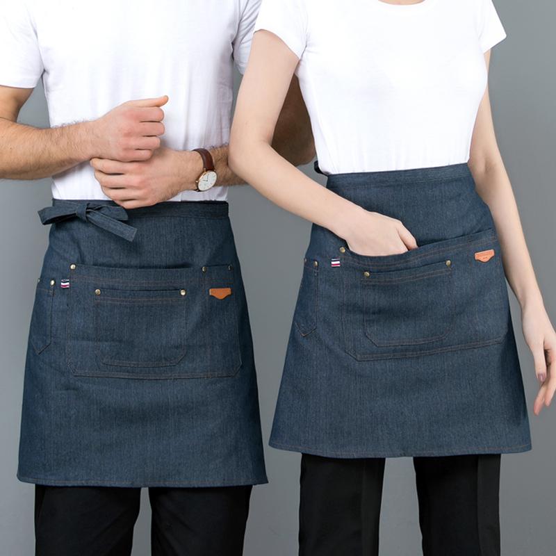 服务员男女多兜半身牛仔围裙定制LOGO饭店西餐厅蛋糕店半截围腰