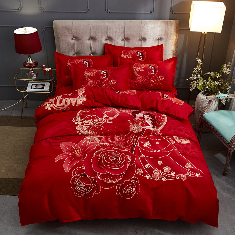 Wedding four piece cotton quilt cover wedding red couple bed sheet wedding festive thickened cotton bedding