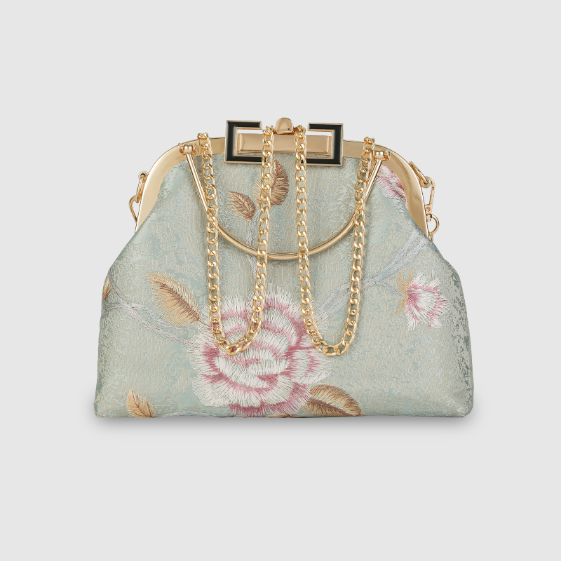 山また工坊中国風のチャイナドレスの百合口の金の女性用の刺繍の手提げ袋は斜にカバンにまたがって郵送します。
