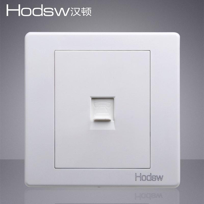 新款单联电话插座白色BE语音二芯86型电灯面板开关电源插座墙壁